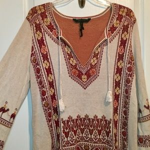 BCBG MAXAZRIA Camel Tapestry Flounce Dress